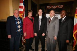 L-r: Mayors Richard Keebler (Oxford, OH), Sally Hutton (Richmond, IN), Pat Moeller (Hamilton, OH), Ralph Hoop (Glendale, OH), Mark Mallory (Cincinnati, OH)