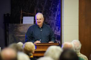 """Jim Blount delivering a recent lecture on the Flood of 1913, """"Hamilton in Crisis,"""" at the Butler County Historical Society last month"""