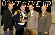 L-r: Associate Dean Rob Schorman; Jeremy Meier as Commodore Perry; Matthew Smith and Curt Ellison (Michael J. Colligan History Project)