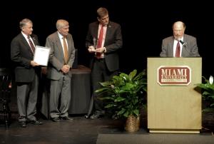 John E. Dolibois History Prize platform (l-r): G. Michael Pratt, James M. Mcpherson, Mike Dingledein, Curtis Ellison. 10.29.14.